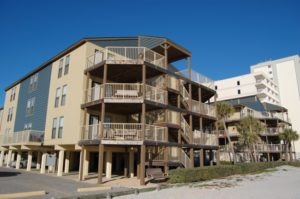 large balcony outside Sandpiper condo building